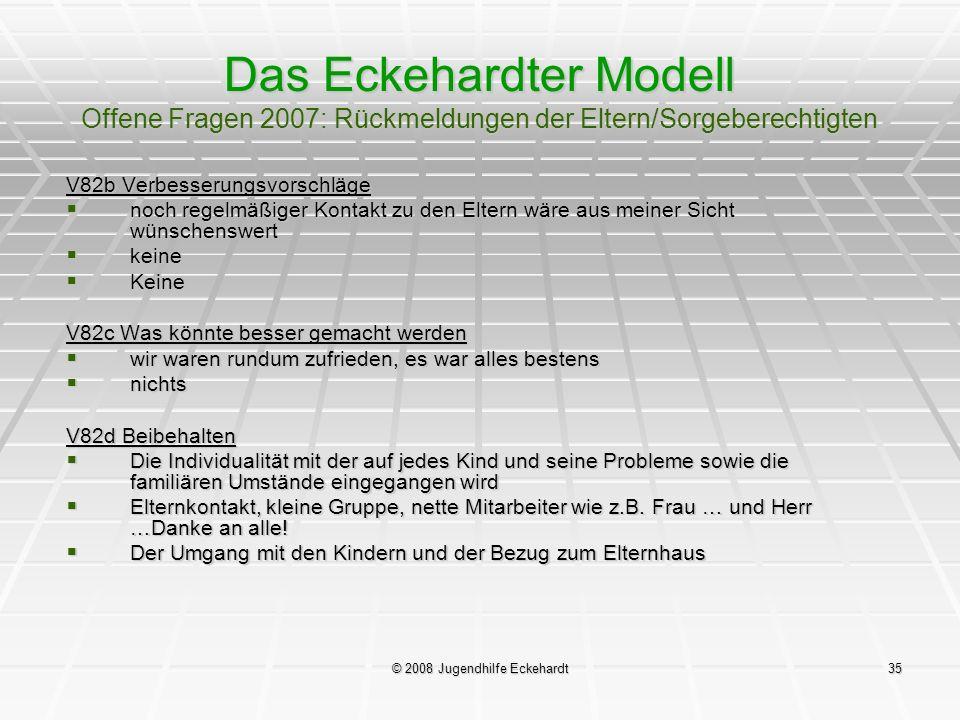 © 2008 Jugendhilfe Eckehardt35 Das Eckehardter Modell Offene Fragen 2007: Rückmeldungen der Eltern/Sorgeberechtigten V82b Verbesserungsvorschläge noch