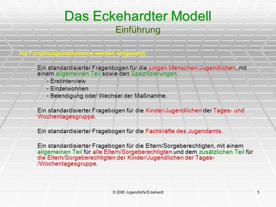 © 2008 Jugendhilfe Eckehardt5 Das Eckehardter Modell Einführung Als Forschungsinstrumente werden eingesetzt: Ein standardisierter Fragenbogen für die