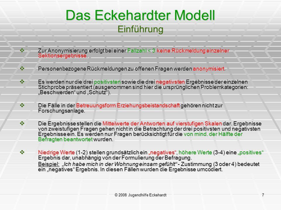 © 2008 Jugendhilfe Eckehardt7 Das Eckehardter Modell Einführung Zur Anonymisierung erfolgt bei einer Fallzahl < 3 keine Rückmeldung einzelner Sektions
