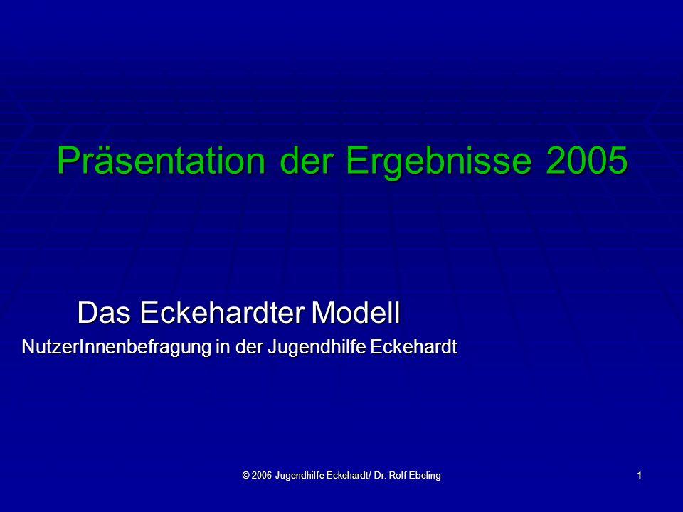 © 2006 Jugendhilfe Eckehardt/ Dr. Rolf Ebeling1 Präsentation der Ergebnisse 2005 Das Eckehardter Modell NutzerInnenbefragung in der Jugendhilfe Eckeha
