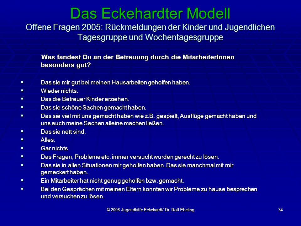 © 2006 Jugendhilfe Eckehardt/ Dr. Rolf Ebeling34 Das Eckehardter Modell Offene Fragen 2005: Rückmeldungen der Kinder und Jugendlichen Tagesgruppe und