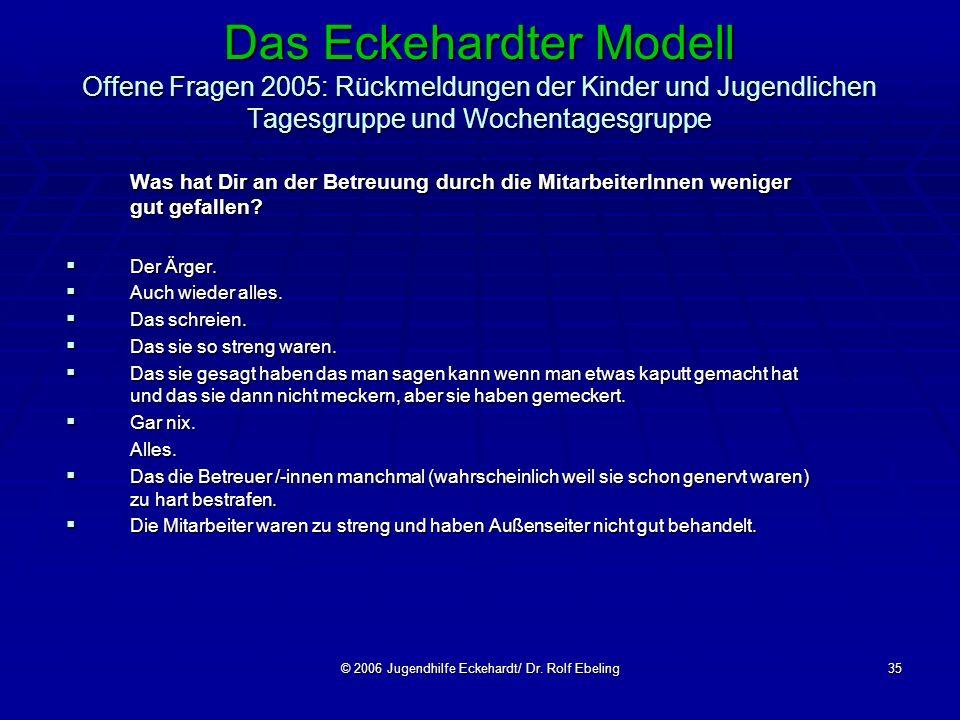 © 2006 Jugendhilfe Eckehardt/ Dr. Rolf Ebeling35 Das Eckehardter Modell Offene Fragen 2005: Rückmeldungen der Kinder und Jugendlichen Tagesgruppe und