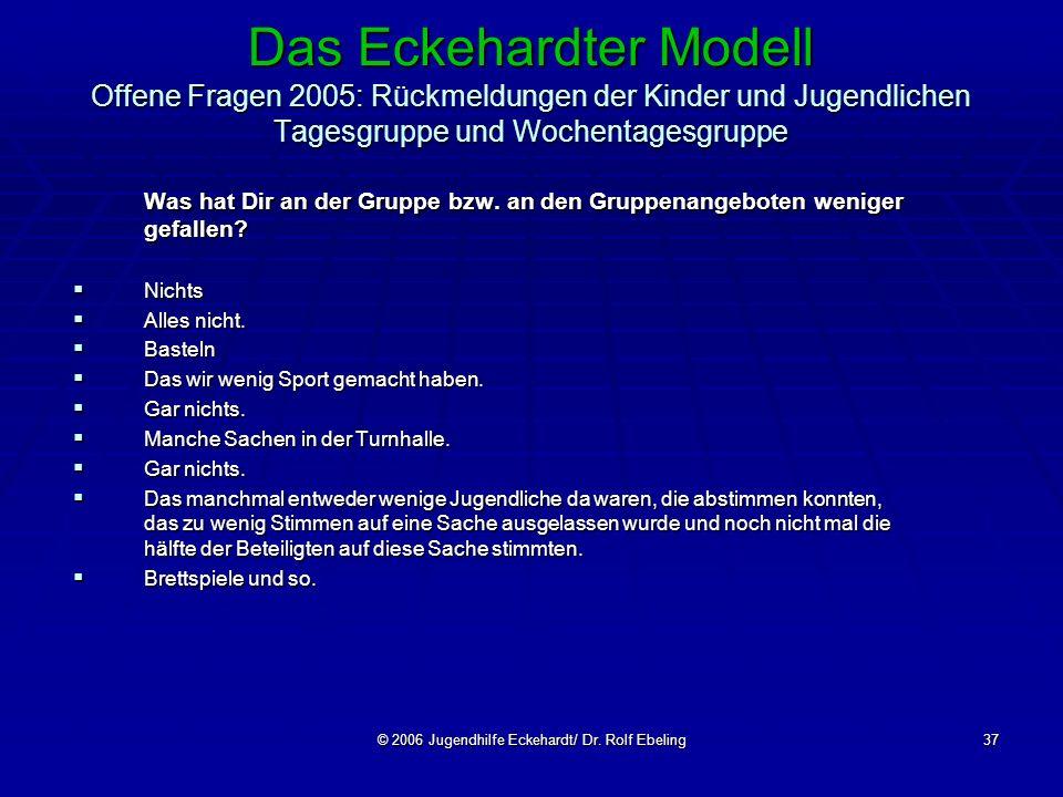 © 2006 Jugendhilfe Eckehardt/ Dr. Rolf Ebeling37 Das Eckehardter Modell Offene Fragen 2005: Rückmeldungen der Kinder und Jugendlichen Tagesgruppe und