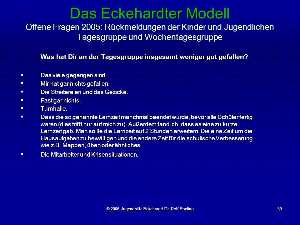 © 2006 Jugendhilfe Eckehardt/ Dr. Rolf Ebeling39 Das Eckehardter Modell Offene Fragen 2005: Rückmeldungen der Kinder und Jugendlichen Tagesgruppe und