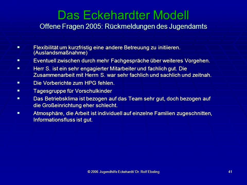 © 2006 Jugendhilfe Eckehardt/ Dr. Rolf Ebeling41 Das Eckehardter Modell Offene Fragen 2005: Rückmeldungen des Jugendamts Flexibilität um kurzfristig e