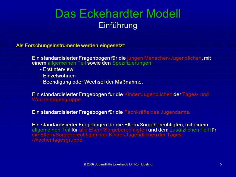 © 2006 Jugendhilfe Eckehardt/ Dr. Rolf Ebeling5 Das Eckehardter Modell Einführung Als Forschungsinstrumente werden eingesetzt: Ein standardisierter Fr
