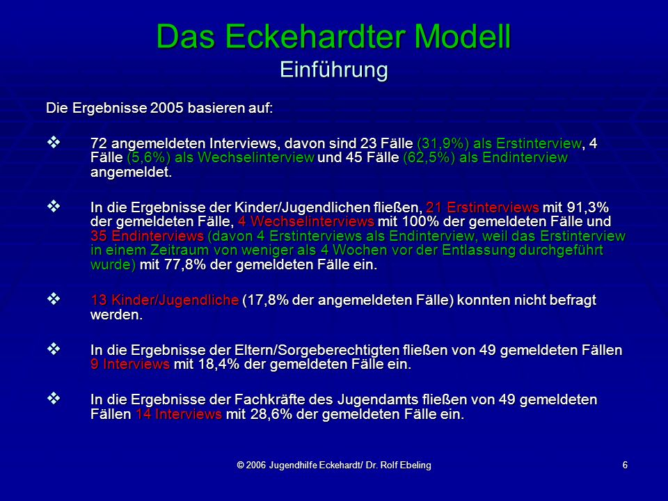 © 2006 Jugendhilfe Eckehardt/ Dr. Rolf Ebeling6 Das Eckehardter Modell Einführung Die Ergebnisse 2005 basieren auf: 72 angemeldeten Interviews, davon