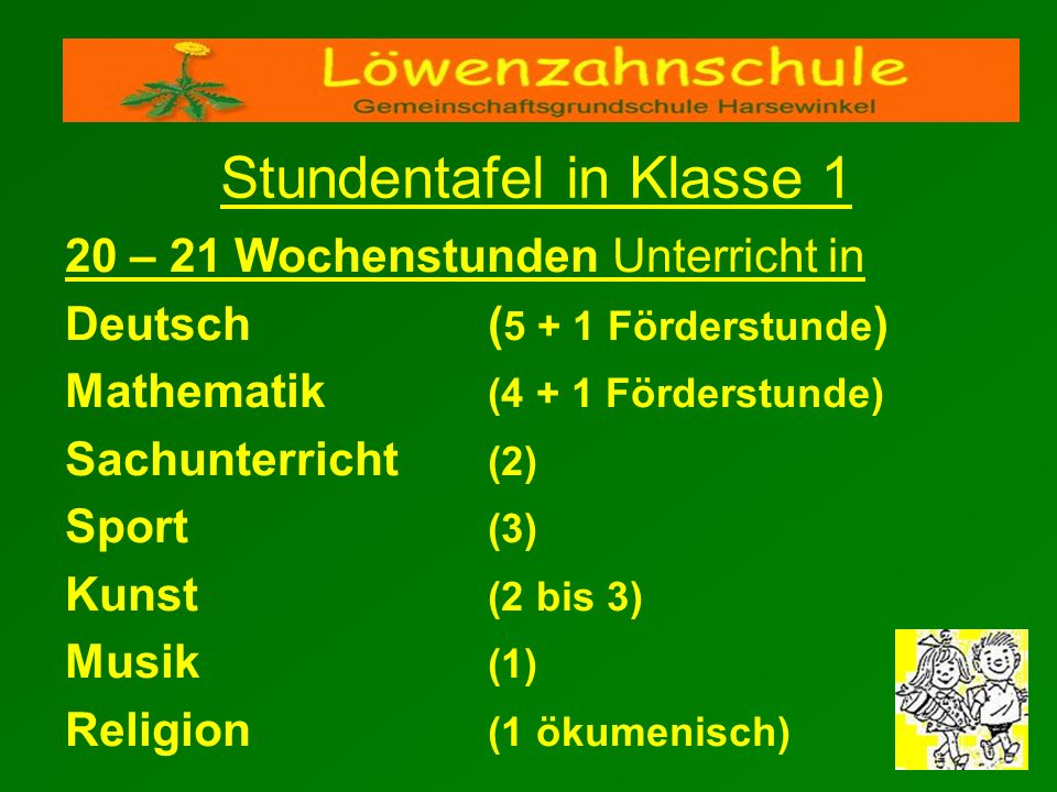 Stundentafel in Klasse 1 20 – 21 Wochenstunden Unterricht in Deutsch ( 5 + 1 Förderstunde ) Mathematik (4 + 1 Förderstunde) Sachunterricht (2) Sport (