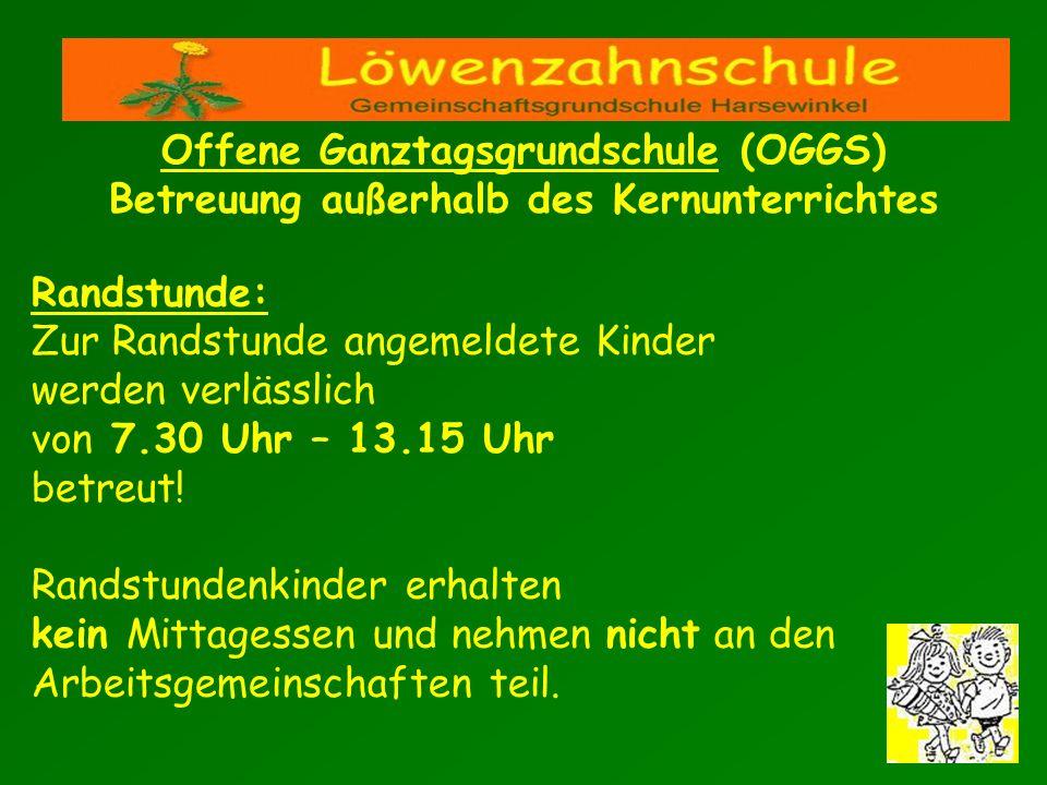 Randstunde: Zur Randstunde angemeldete Kinder werden verlässlich von 7.30 Uhr – 13.15 Uhr betreut! Randstundenkinder erhalten kein Mittagessen und neh