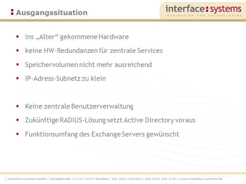 interface systems GmbH   Zwinglistraße 11/13   01277 Dresden   Tel.: 0351 318 09 0   Fax: 0351 336 11 87   www.interface-systems.de Zielsetzung Backup 172.20.x.x /16