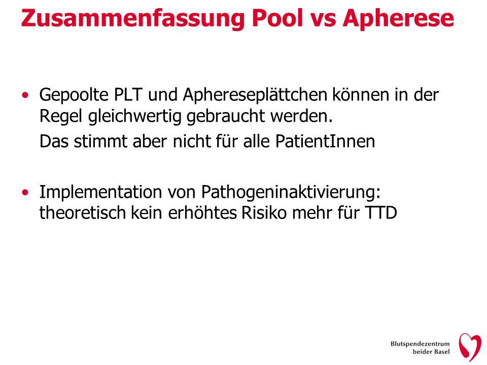 Zusammenfassung Pool vs Apherese Gepoolte PLT und Aphereseplättchen können in der Regel gleichwertig gebraucht werden. Das stimmt aber nicht für alle