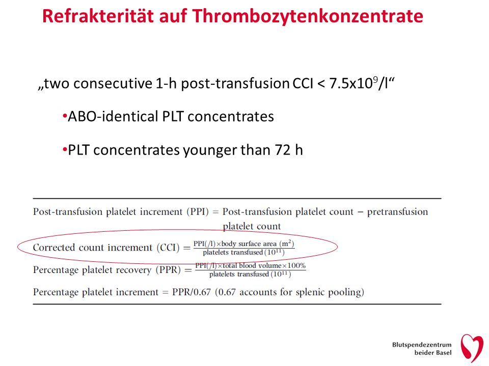 Refrakterität auf Thrombozytenkonzentrate two consecutive 1-h post-transfusion CCI < 7.5x10 9 /l ABO-identical PLT concentrates PLT concentrates younger than 72 h