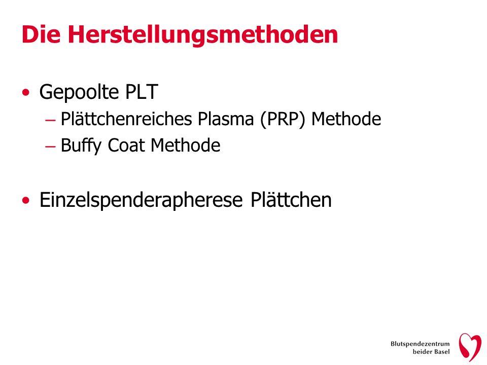 Die Herstellungsmethoden Gepoolte PLT – Plättchenreiches Plasma (PRP) Methode – Buffy Coat Methode Einzelspenderapherese Plättchen