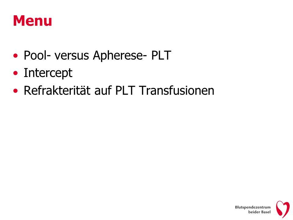 Menu Pool- versus Apherese- PLT Intercept Refrakterität auf PLT Transfusionen