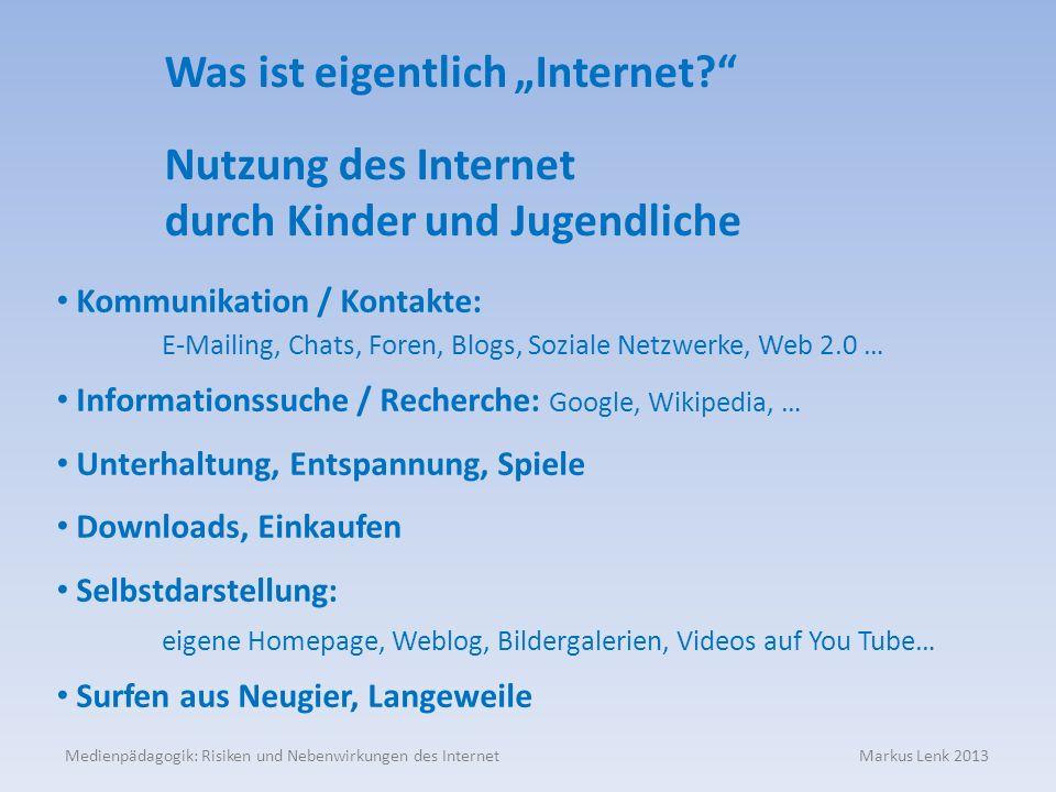 Medienpädagogik: Risiken und Nebenwirkungen des Internet Markus Lenk 2013 Nutzung des Internet durch Kinder und Jugendliche Kommunikation / Kontakte: