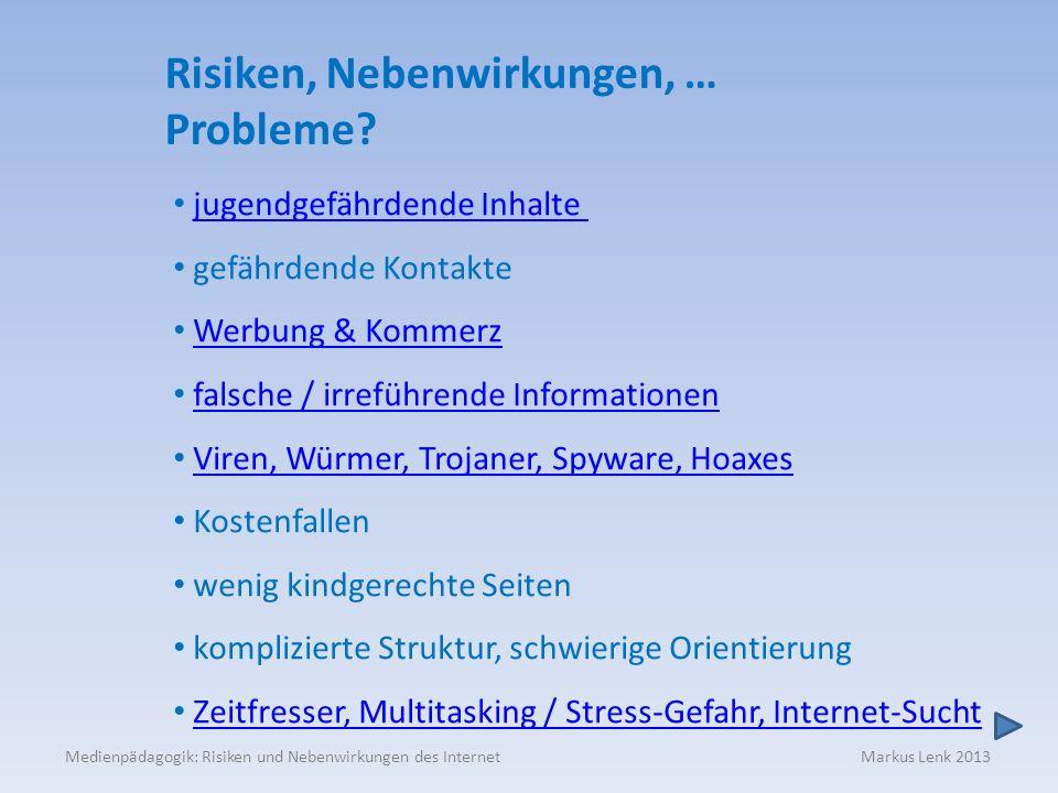 Medienpädagogik: Risiken und Nebenwirkungen des Internet Markus Lenk 2013 Risiken, Nebenwirkungen, … Probleme? jugendgefährdende Inhalte gefährdende K