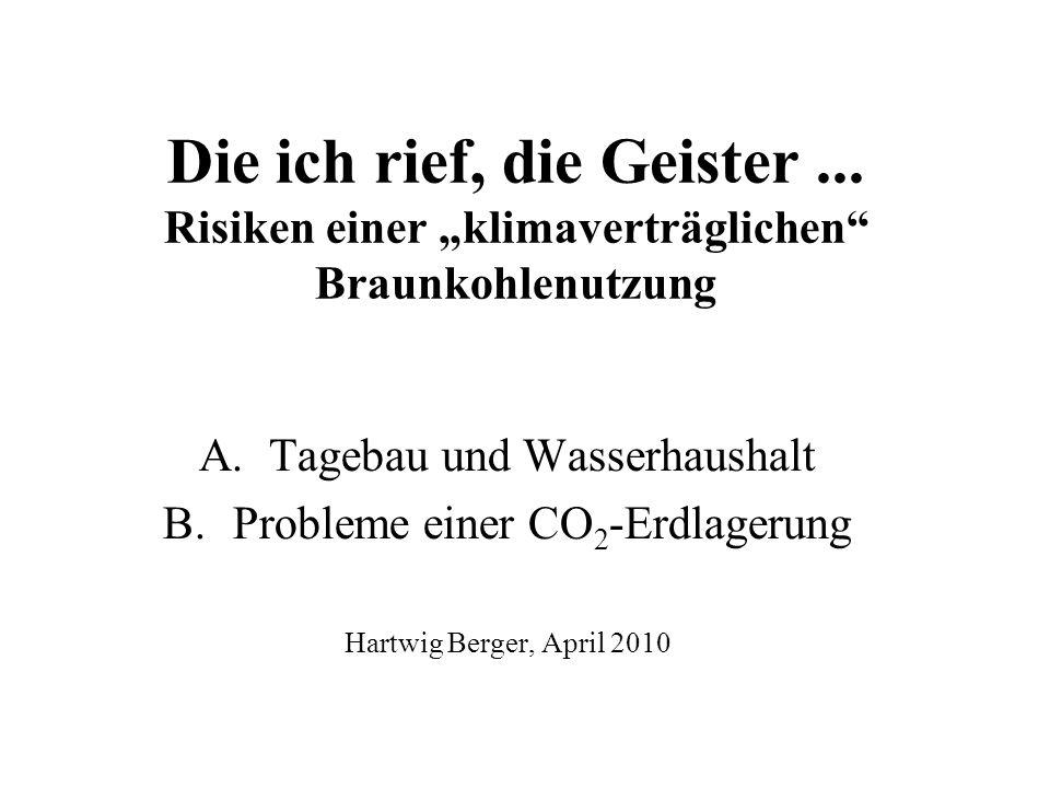 Die ich rief, die Geister... Risiken einer klimaverträglichen Braunkohlenutzung A.Tagebau und Wasserhaushalt B.Probleme einer CO 2 -Erdlagerung Hartwi