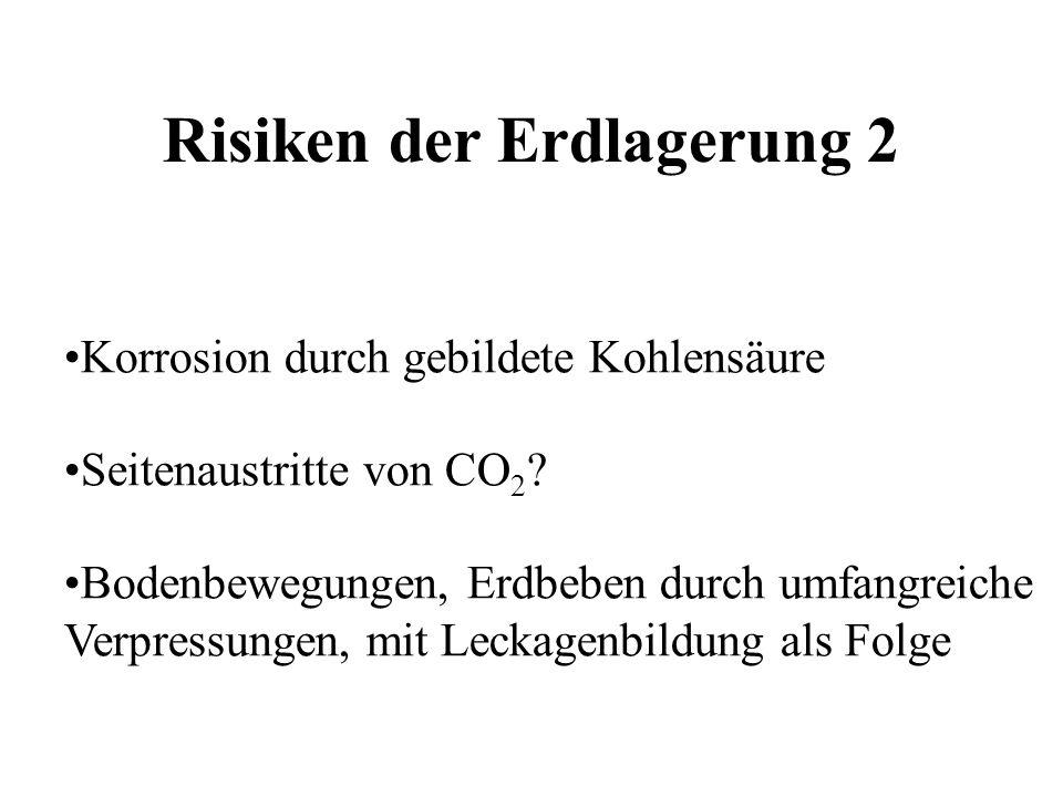 Korrosion durch gebildete Kohlensäure Seitenaustritte von CO 2 ? Bodenbewegungen, Erdbeben durch umfangreiche Verpressungen, mit Leckagenbildung als F