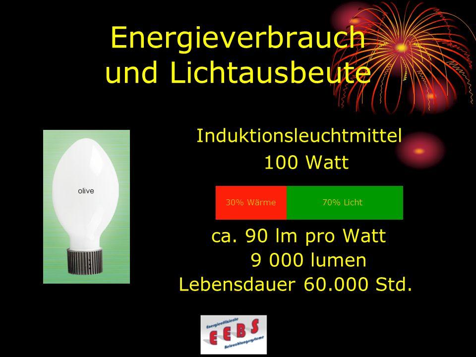 Energieverbrauch und Lichtausbeute Induktionsleuchtmittel 100 Watt ca. 90 lm pro Watt 9 000 lumen Lebensdauer 60.000 Std. 70% Licht 30% Wärme