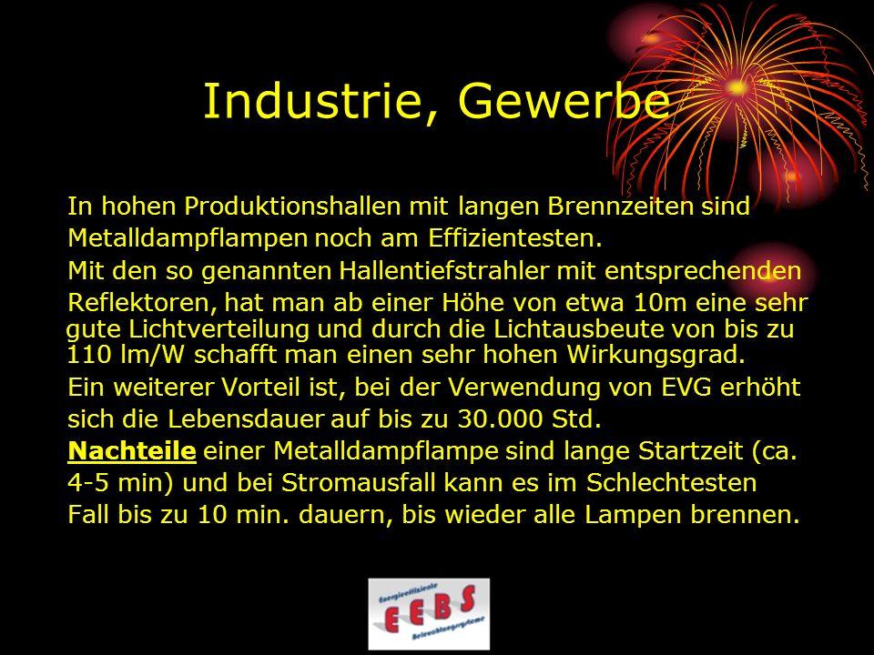 Industrie, Gewerbe In hohen Produktionshallen mit langen Brennzeiten sind Metalldampflampen noch am Effizientesten. Mit den so genannten Hallentiefstr