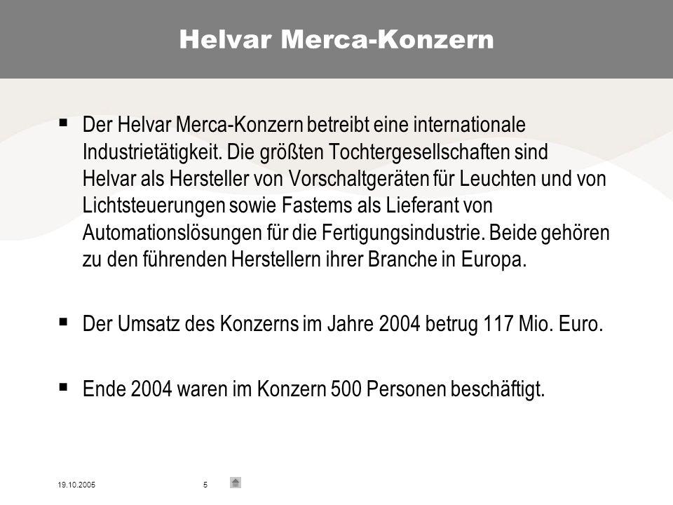 19.10.20055 Helvar Merca-Konzern Der Helvar Merca-Konzern betreibt eine internationale Industrietätigkeit.