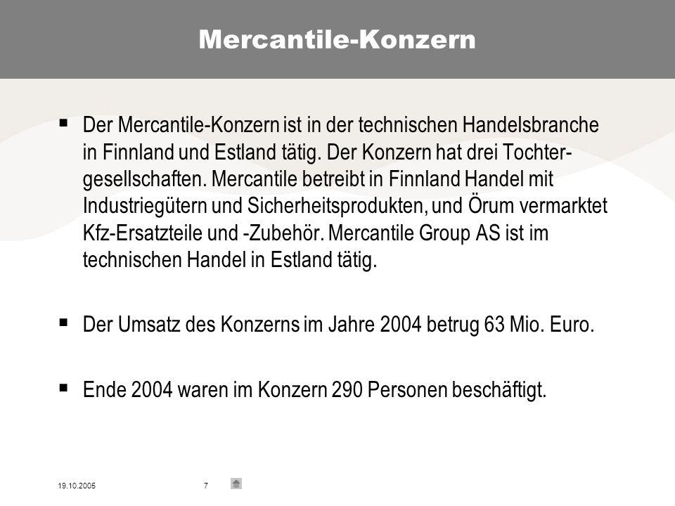 19.10.20057 Mercantile-Konzern Der Mercantile-Konzern ist in der technischen Handelsbranche in Finnland und Estland tätig.