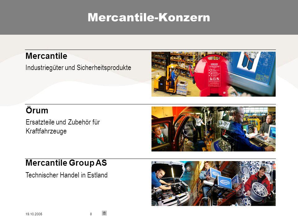 19.10.20058 Mercantile-Konzern Mercantile Industriegüter und Sicherheitsprodukte Örum Ersatzteile und Zubehör für Kraftfahrzeuge Mercantile Group AS Technischer Handel in Estland