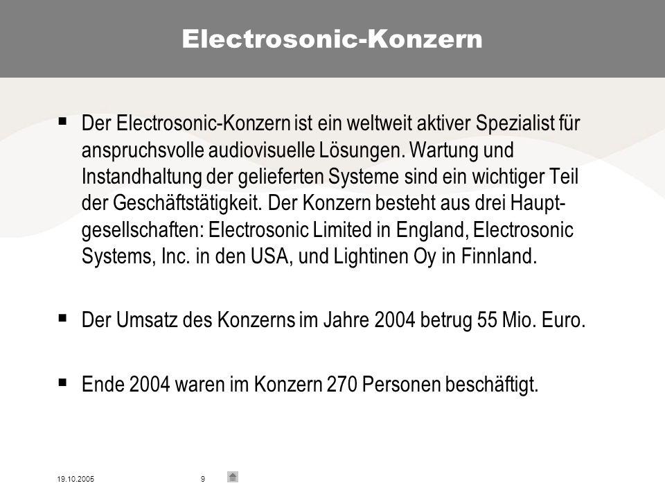19.10.20059 Electrosonic-Konzern Der Electrosonic-Konzern ist ein weltweit aktiver Spezialist für anspruchsvolle audiovisuelle Lösungen.