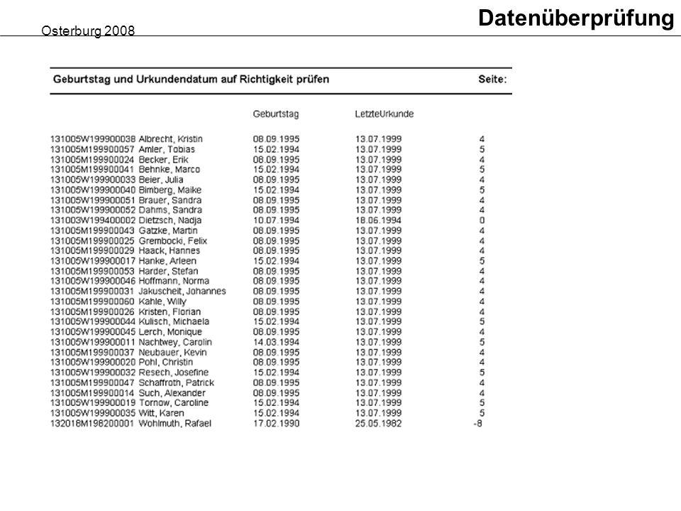Osterburg 2008 Datenüberprüfung