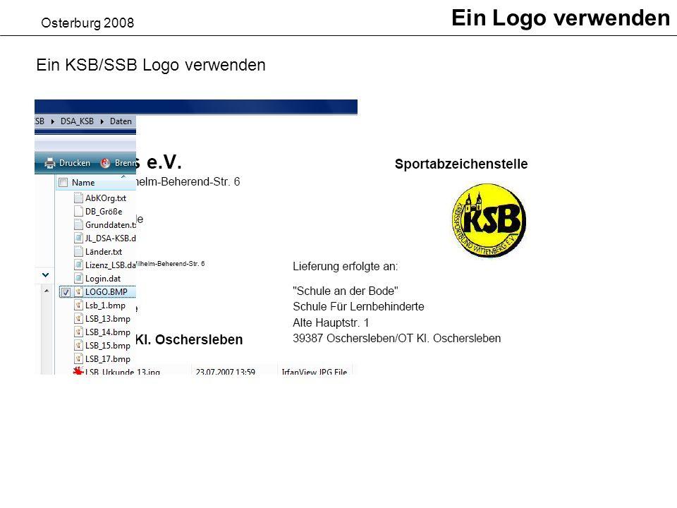 Osterburg 2008 Ein Logo verwenden Ein KSB/SSB Logo verwenden