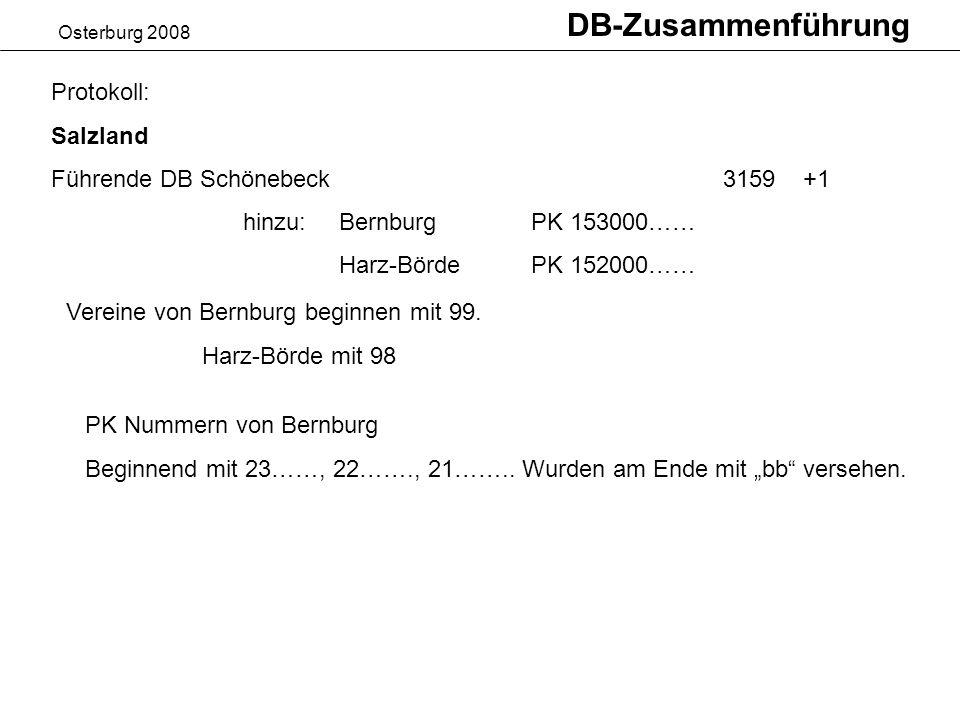 Osterburg 2008 DB-Zusammenführung Protokoll: Salzland Führende DB Schönebeck3159 +1 hinzu: BernburgPK 153000…… Harz-BördePK 152000…… Vereine von Bernburg beginnen mit 99.
