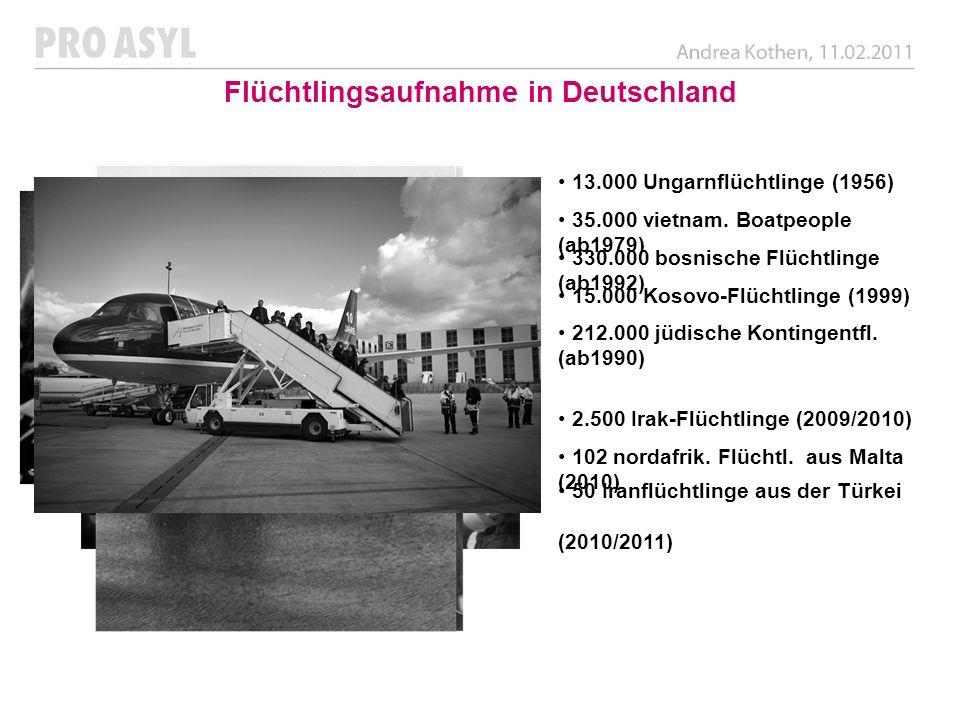 Flüchtlingsaufnahme in Deutschland 13.000 Ungarnflüchtlinge (1956) 35.000 vietnam. Boatpeople (ab1979) 212.000 jüdische Kontingentfl. (ab1990) 330.000
