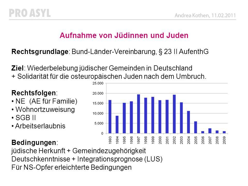 Aufnahme von Jüdinnen und Juden Rechtsgrundlage: Bund-Länder-Vereinbarung, § 23 II AufenthG Ziel: Wiederbelebung jüdischer Gemeinden in Deutschland +