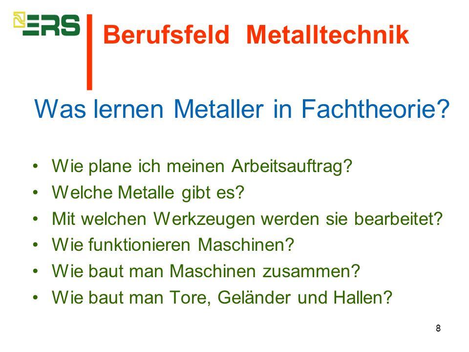 8 Was lernen Metaller in Fachtheorie? Wie plane ich meinen Arbeitsauftrag? Welche Metalle gibt es? Mit welchen Werkzeugen werden sie bearbeitet? Wie f