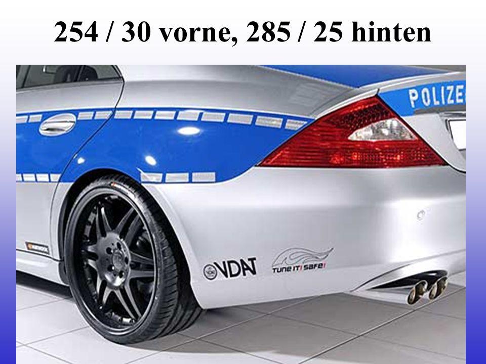 254 / 30 vorne, 285 / 25 hinten