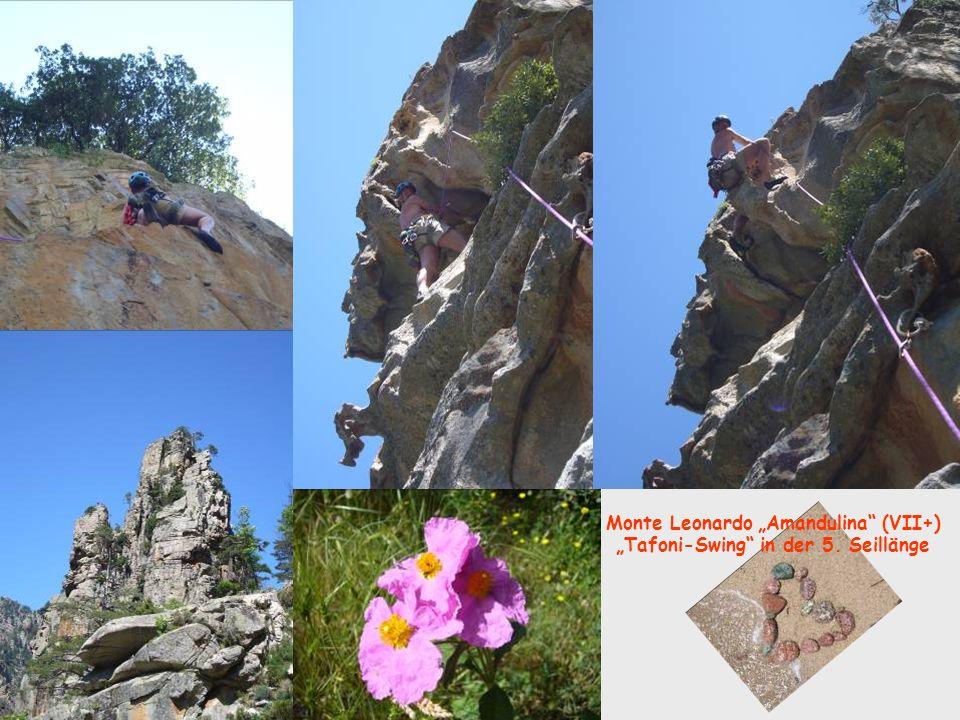 Monte Leonardo Amandulina (VII+) Tafoni-Swing in der 5. Seillänge