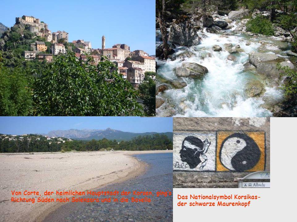 Das Nationalsymbol Korsikas- der schwarze Maurenkopf Von Corte, der heimlichen Hauptstadt der Korsen, gings Richtung Süden nach Solenzara und in die Bavella