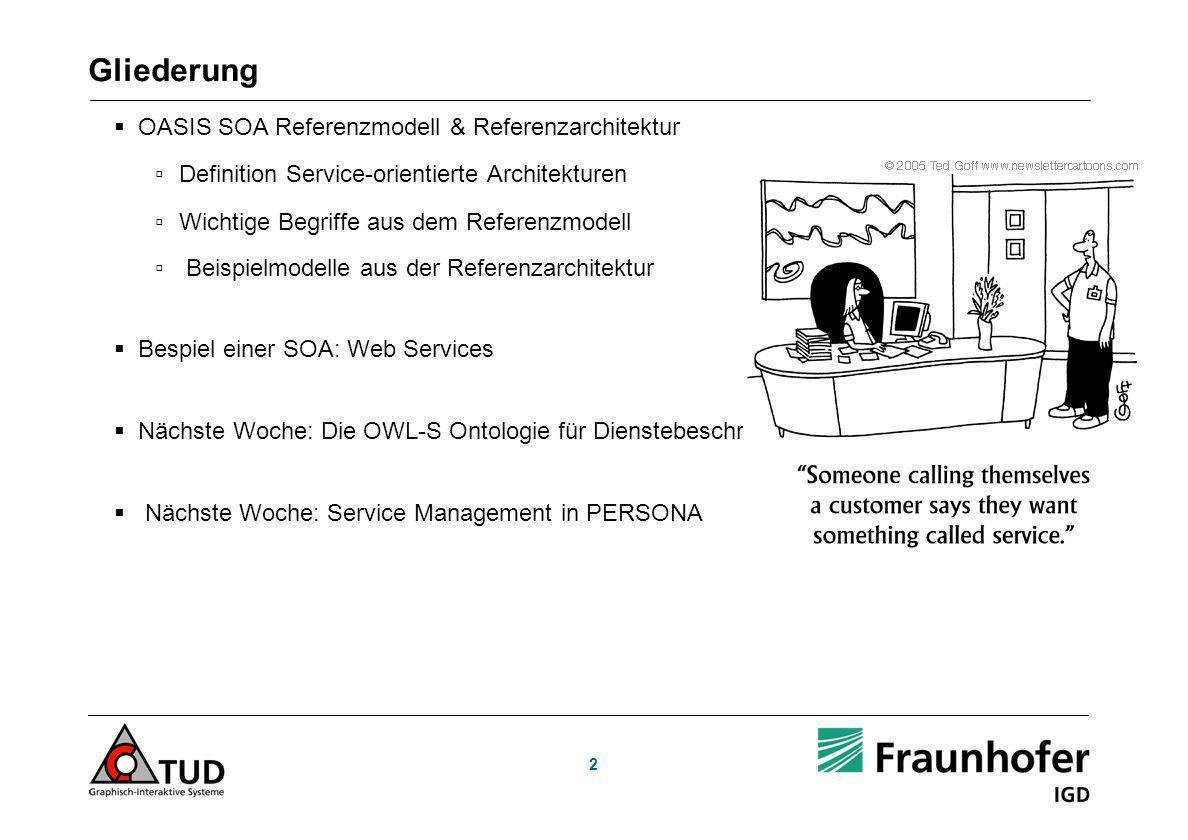 2 Gliederung OASIS SOA Referenzmodell & Referenzarchitektur Definition Service-orientierte Architekturen Wichtige Begriffe aus dem Referenzmodell Beispielmodelle aus der Referenzarchitektur Bespiel einer SOA: Web Services Nächste Woche: Die OWL-S Ontologie für Dienstebeschreibung Nächste Woche: Service Management in PERSONA