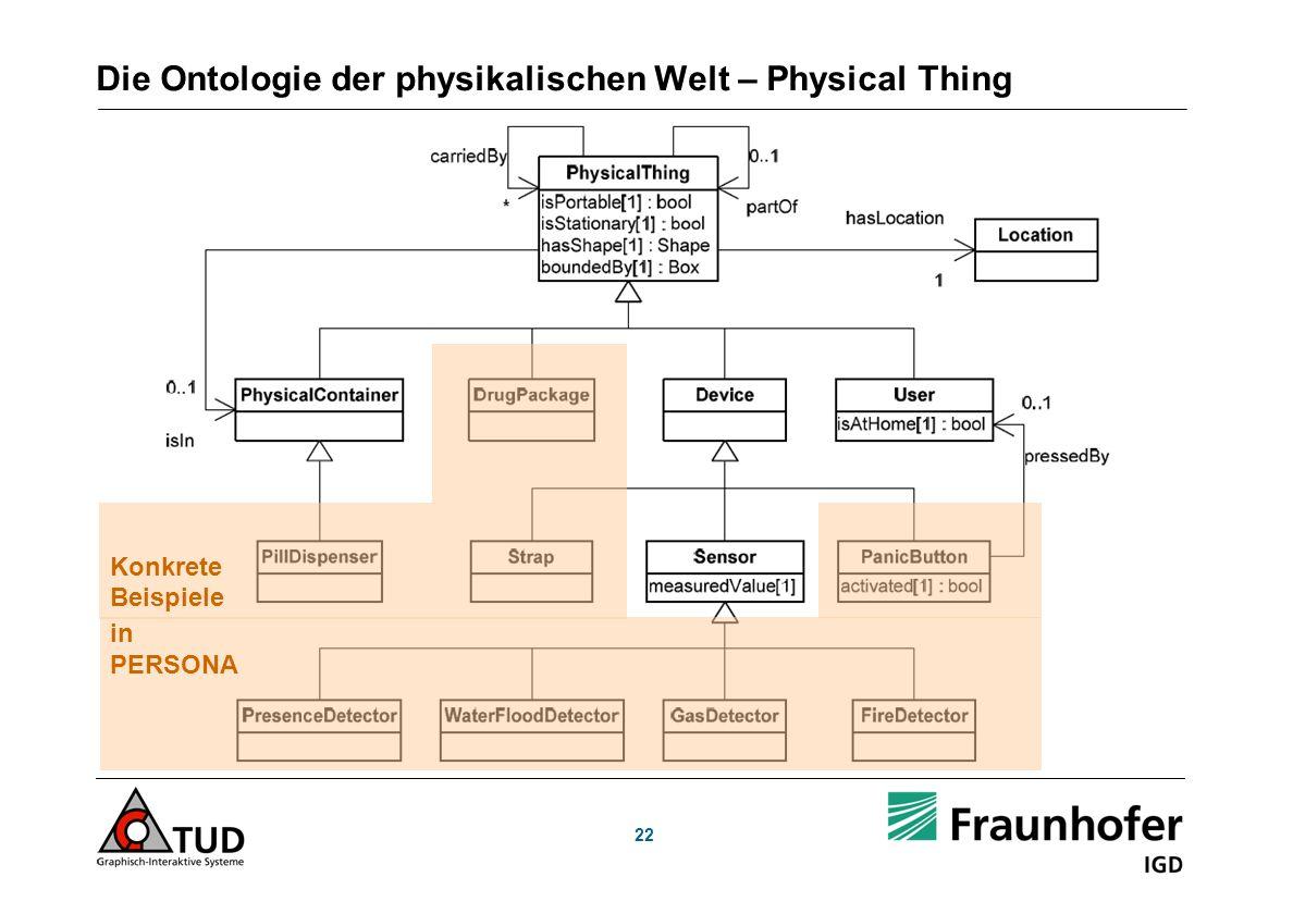 Die Ontologie der physikalischen Welt – Physical Thing 22 in PERSONA Konkrete Beispiele