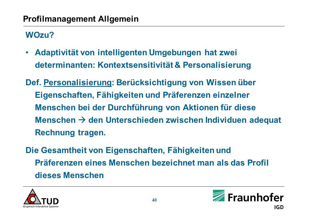 Profilmanagement Allgemein WOzu.
