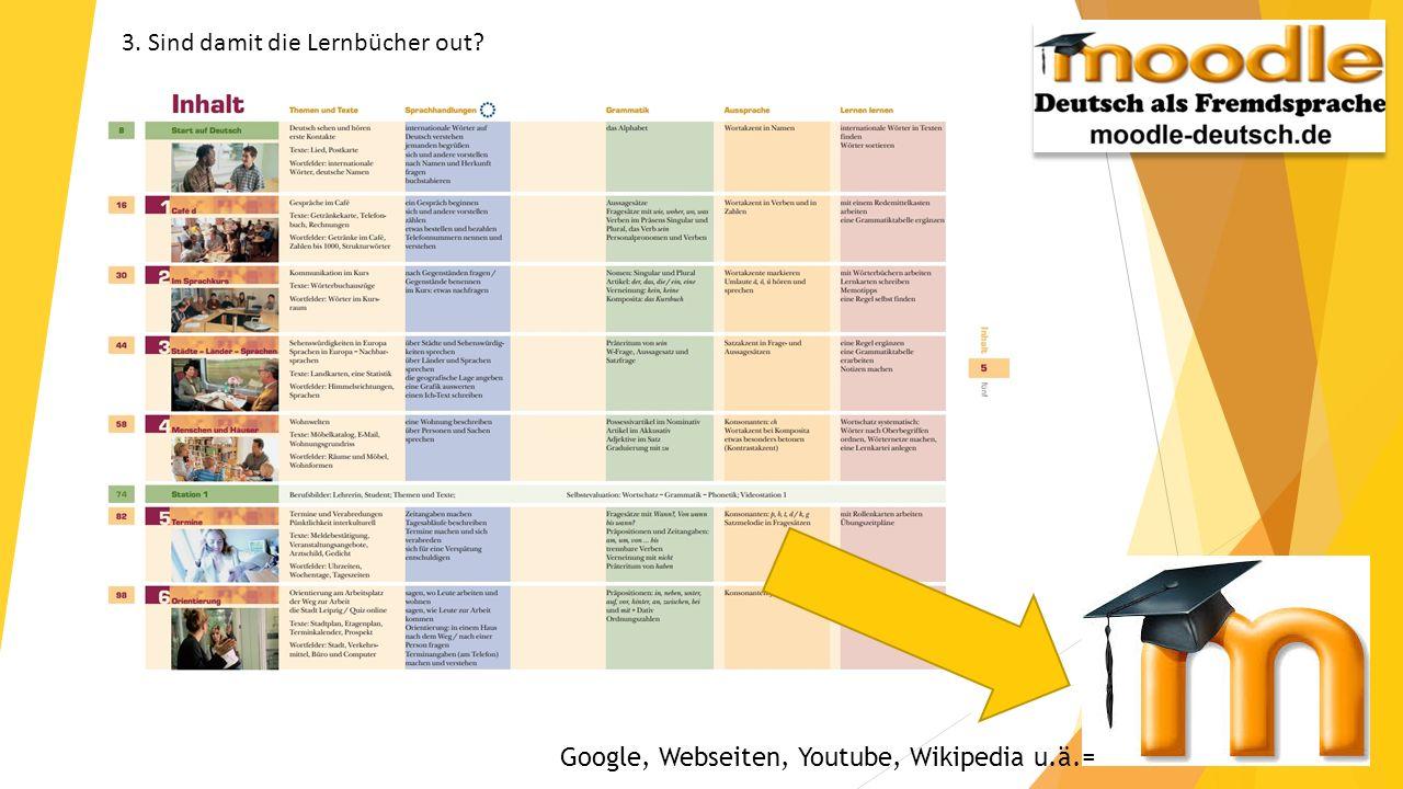 3. Sind damit die Lernbücher out? Google, Webseiten, Youtube, Wikipedia u.ä.=
