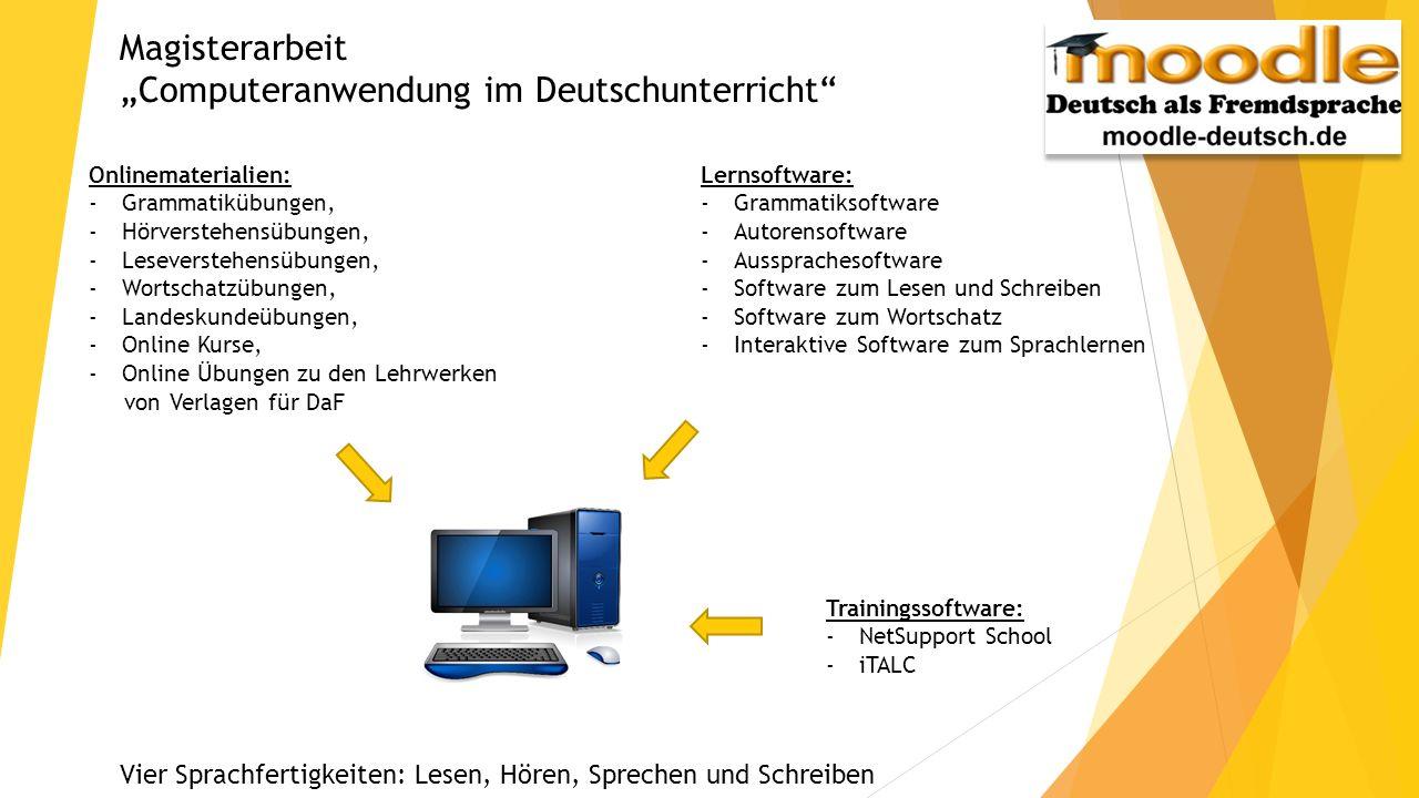 Magisterarbeit Computeranwendung im Deutschunterricht Onlinematerialien: -Grammatikübungen, -Hörverstehensübungen, -Leseverstehensübungen, -Wortschatz