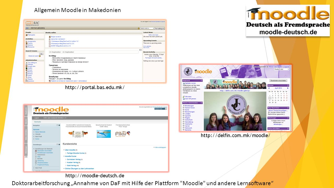 Allgemein Moodle in Makedonien http://portal.bas.edu.mk/ http://delfin.com.mk/moodle/ http://moodle-deutsch.de Doktorarbeitforschung Annahme von DaF mit Hilfe der Plattform Moodle und andere Lernsoftware