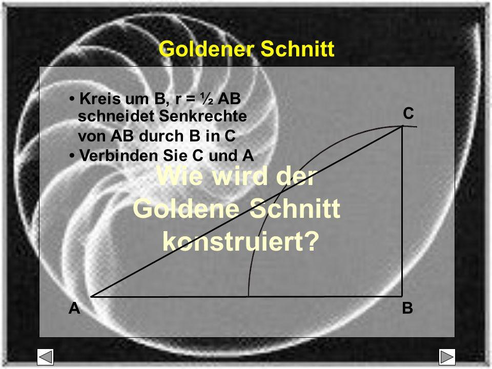 AB C Kreis um B, r = ½ AB schneidet Senkrechte von AB durch B in C Goldener Schnitt Wie wird der Goldene Schnitt konstruiert.