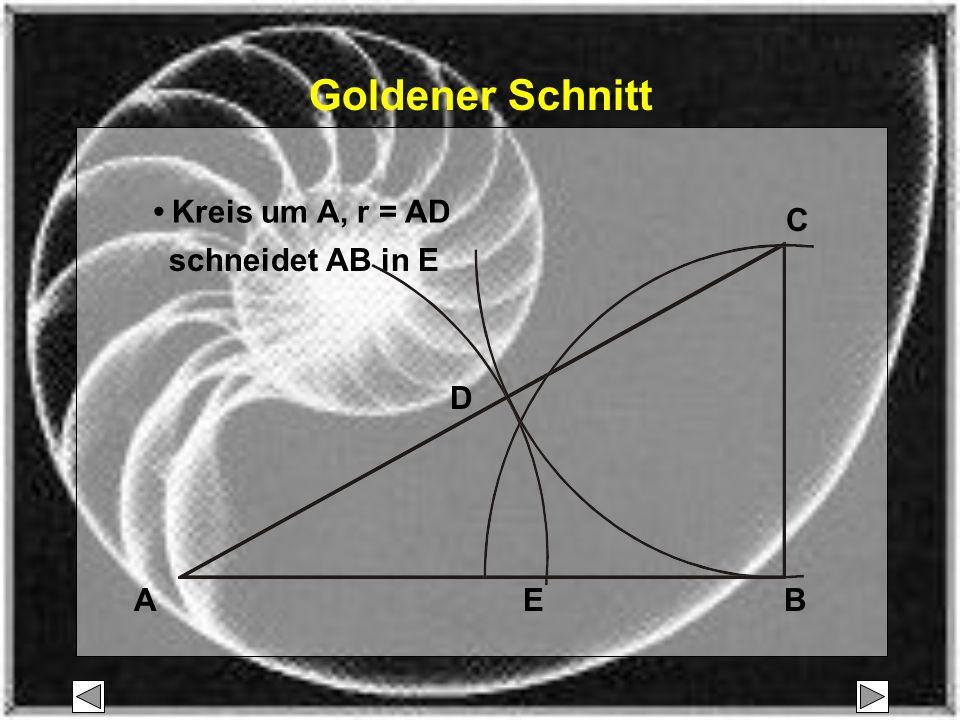 ABE 1,618 1: steht im Verhältnis zu Strecke AE wie 1 : 1,618 oder 3 : 5 bzw.