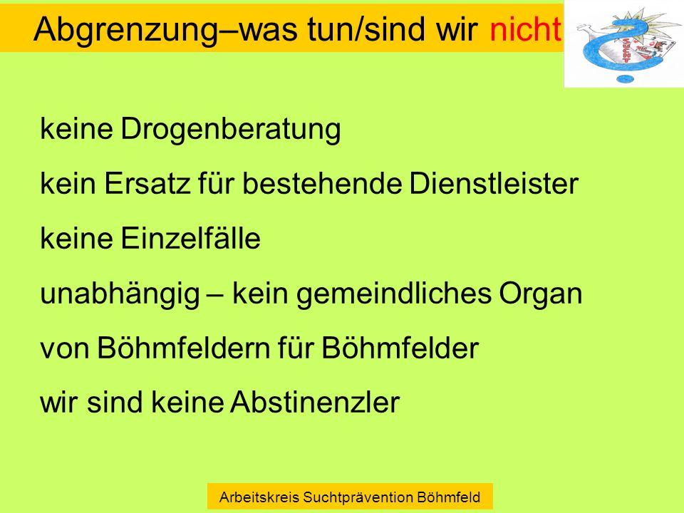 Abgrenzung–was tun/sind wir nicht Arbeitskreis Suchtprävention Böhmfeld keine Drogenberatung kein Ersatz für bestehende Dienstleister keine Einzelfäll