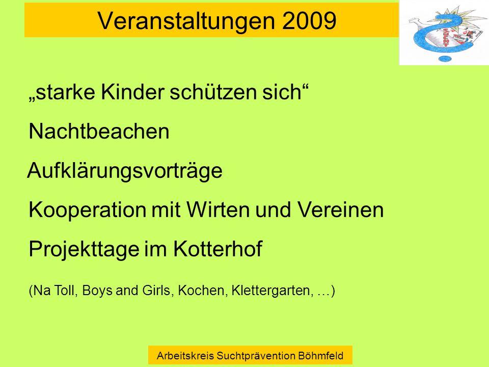 Veranstaltungen 2009 Arbeitskreis Suchtprävention Böhmfeld Historie starke Kinder schützen sich Nachtbeachen Aufklärungsvorträge Kooperation mit Wirte