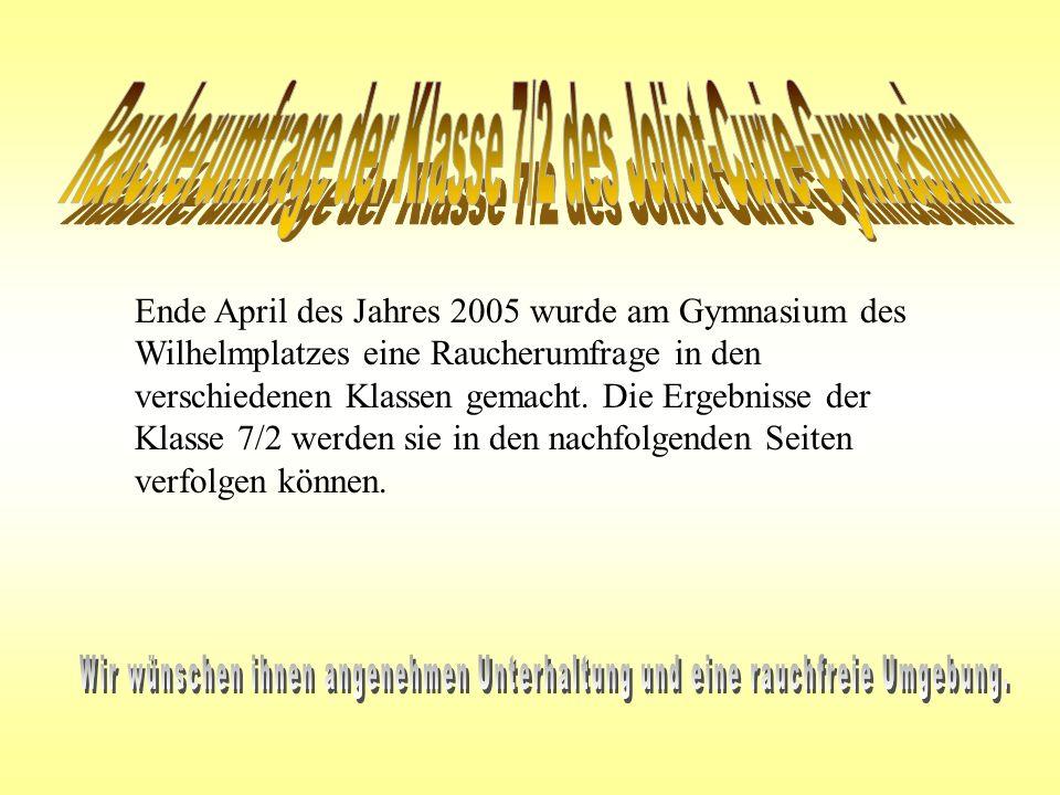 Ende April des Jahres 2005 wurde am Gymnasium des Wilhelmplatzes eine Raucherumfrage in den verschiedenen Klassen gemacht. Die Ergebnisse der Klasse 7