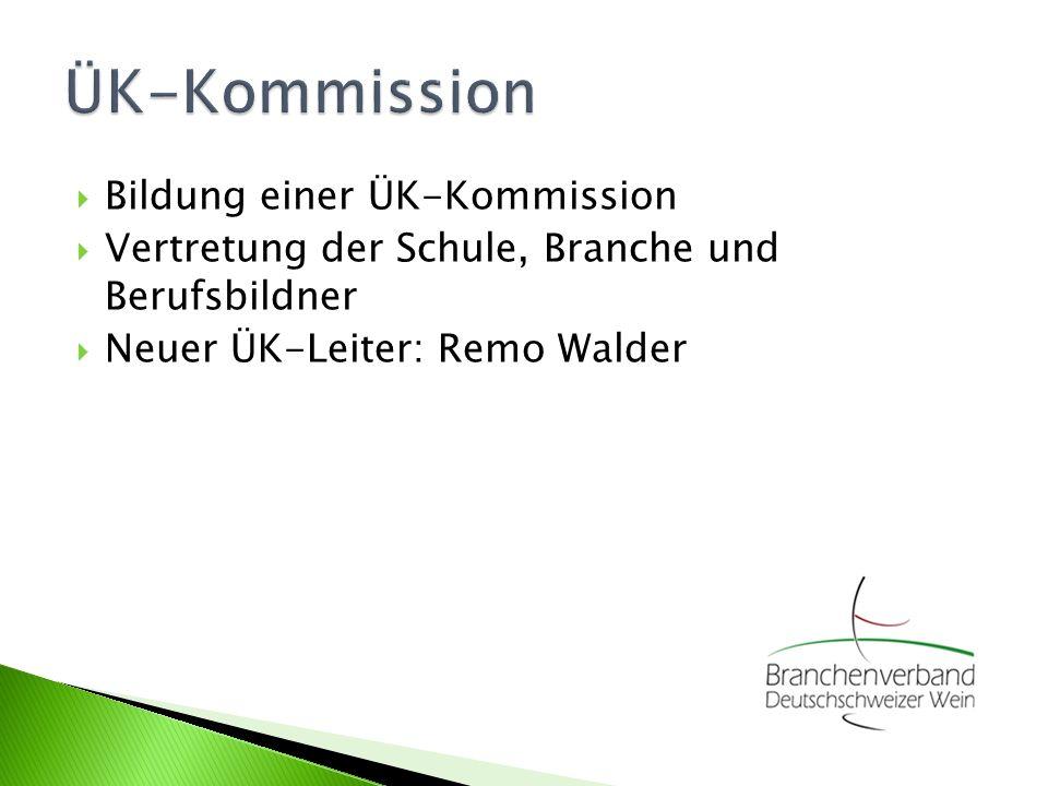 Bildung einer ÜK-Kommission Vertretung der Schule, Branche und Berufsbildner Neuer ÜK-Leiter: Remo Walder