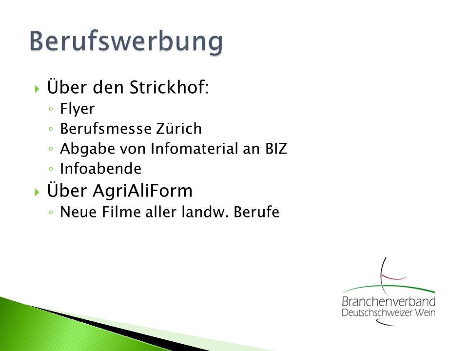 Über den Strickhof: Flyer Berufsmesse Zürich Abgabe von Infomaterial an BIZ Infoabende Über AgriAliForm Neue Filme aller landw.